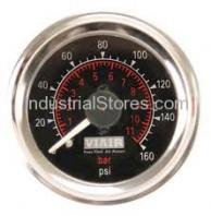 "Viair 90082 Dual Needle Gauge - 2"" Black Face 160psi"