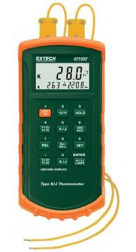 Extech 421502 Dual Input Thermometer with Alarm, Type J/K